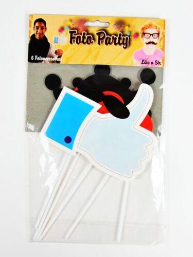 24 tlg Foto Party Accessoires Masken Partyspiel Verkleidung Daumen Hoch Neu OVP