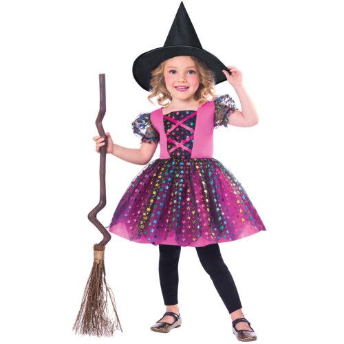 104 3-4 Jahre amscan Kostüm Kleid Regenbogen Hexe mit Hut Gr