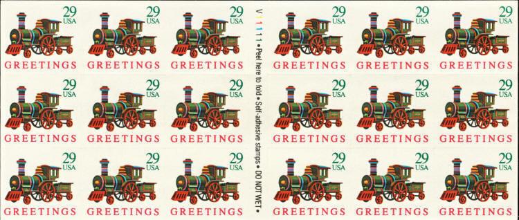 1992 29c Locomotive, ATM, SA, Pane of 18 Scott 2719 Min