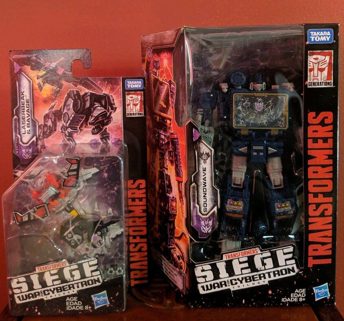 Transformers SIEGE GUERRE POUR CYBERTRON SOUNDWAVE LASERBEAK RAVAGE Set Spy patrol