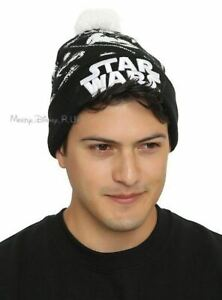 New Star Wars Tie Fighter Intarsia Embroidered Knit Fold Over Pom ... 488a5bdf454b