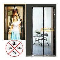 Magic Mesh Door Screen Magnetic Hands-free Anti Mosquito Bug Door Curtain Black