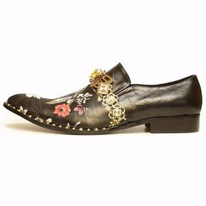 91709dca36 Details about Men s Fiesso Leather Pointed Toe Black Floral Print Dress  Shoes FI 7046