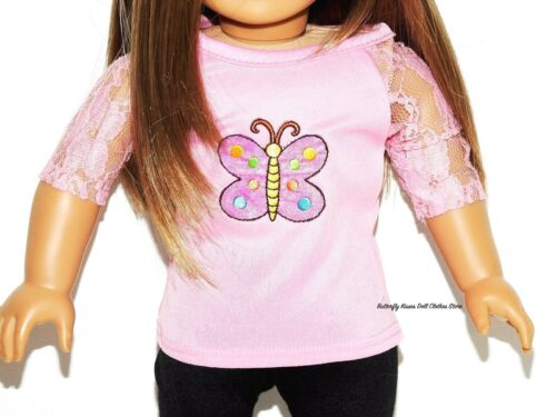 Bow Legging 18 in Doll Clothes Fit American Girl Pink Embroider Butterfly Top
