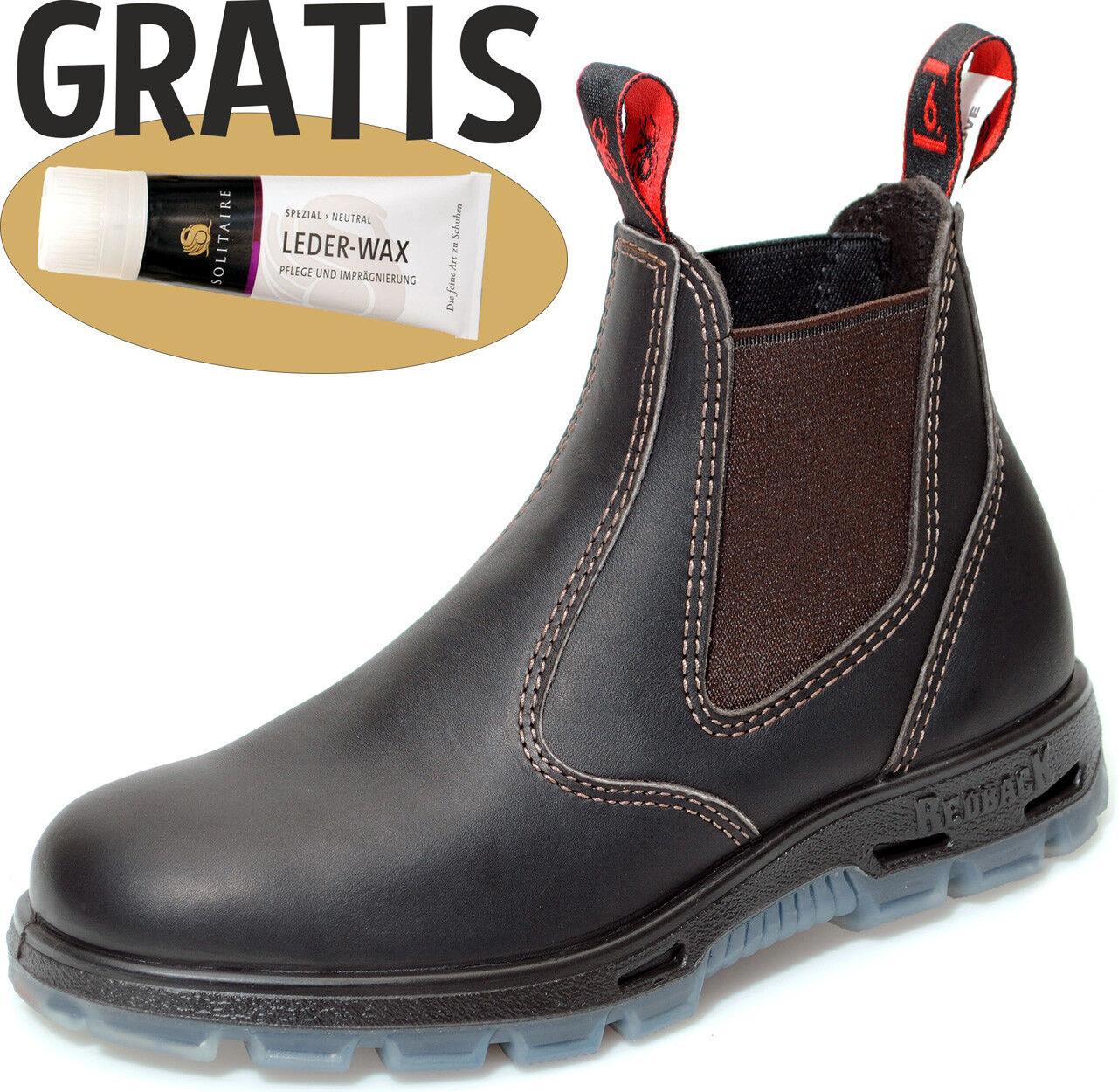 rotback Safety Stiefel Arbeit Leder Reiten Stahl USBOK claret-braun mit Zugabe