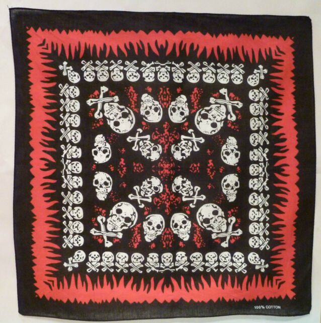 2X 100% Cotton 'SKULL BANDANA' Free Postage (55cmx55cm) PACK OF 2. FREE POST