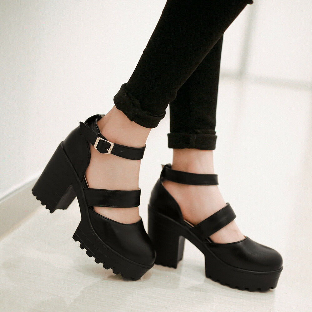 New Arrival Ladies Mary Jane Pumps Chunky High Heel Platform Lolita shoes Plus