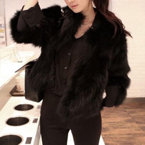Women Faux Fur Soft Fur Coat Jacket Fluffy Warm Winter Long Sleeve Outwear Coats