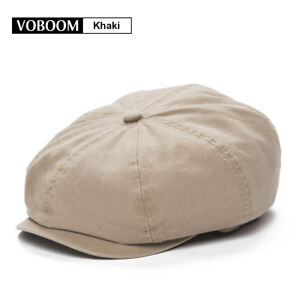 2ecefae6f42 Men s KHAKI Solid Cotton Newsboy Cap Beret Gatsby Ivy Hat Golf ...