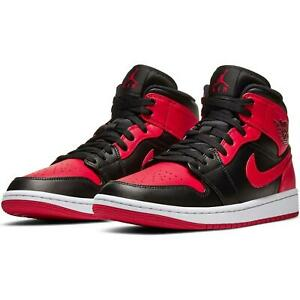 Details about Air Jordan 1 Mid Banned Retro Bred Size 10 Men's Black gym Red Chicago