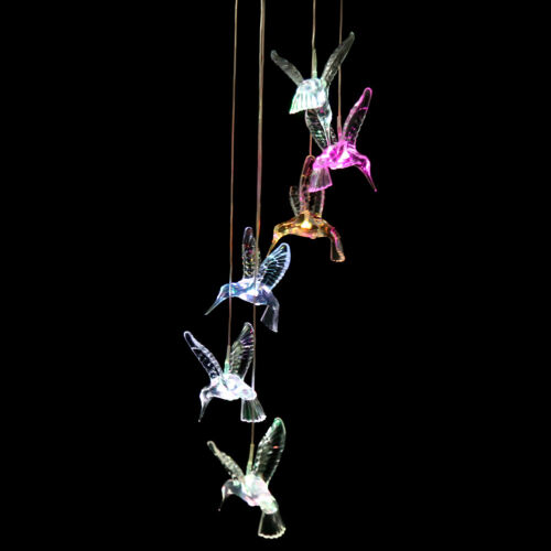 Solar Color Changing Powered Wind Chime LED Light Garden Hanging Spinner Lamp