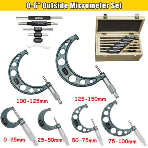 "6 Pcs0-6/"" 0.01mm Precision Outside Micrometer Machinist Tool Carbide Set"
