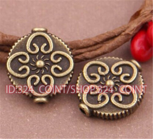 P512 10pc Antique Bronze Charm Flowers String Spacer Beads accessories wholesale