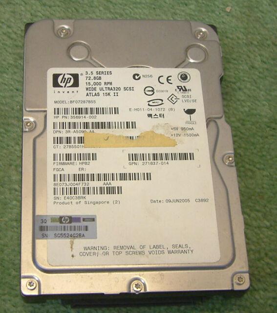 Disco duro SCSI HP 73GB U320 15K 80 pines disco duro de 3.5 pulgadas (Maxtor Atlas 15k) II