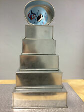 """SET OF 6 HEAVY DUTY CAKE BAKING PANS 5 TIER SQUARE + 6"""" OVAL WEDDING CAKE TINS"""
