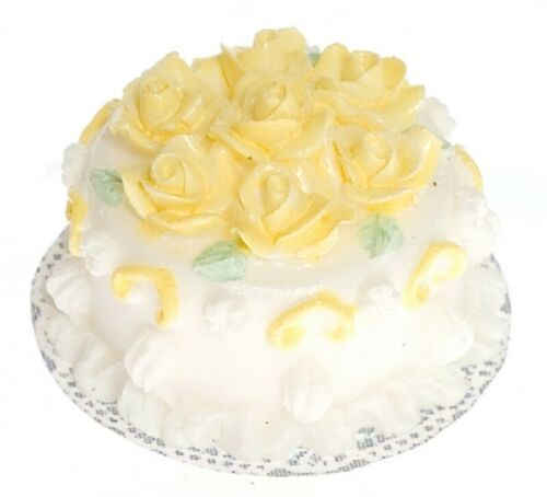 Dollhouse Miniature White Cake with Yellow Roses by Falcon Miniatures