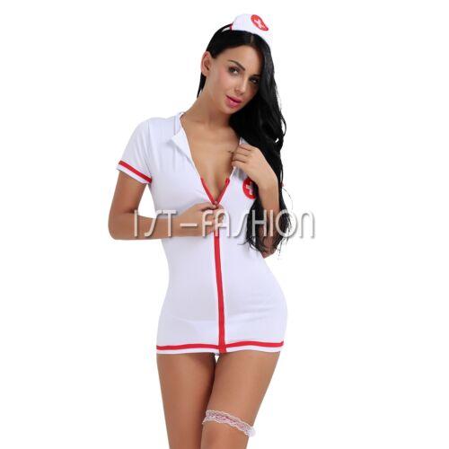Adult Women Nurse Doctor Uniform Costume Lingerie Halloween Cosplay Fancy Dress