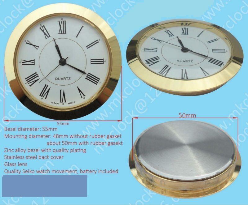 """Silver Bezel Hi-Qual QUARTZ CLOCK Insert 2-1//2/"""" Metal Case 65MM Arabic"""