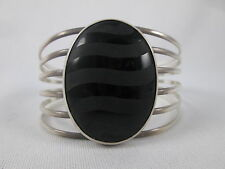 Big Sterling Silver Etched Black Onyx Oval Cuff Bracelet Signed Merav Mexico 925