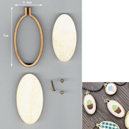 DIY Ellipse Mini Wooden Cross Stitch Embroidery Hoop Ring Frame Machine FixedHGA