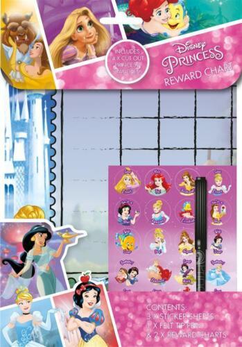 2x Disney Princess Childrens Behaviour Wipe Clean Reward Charts Stickers PSREW3