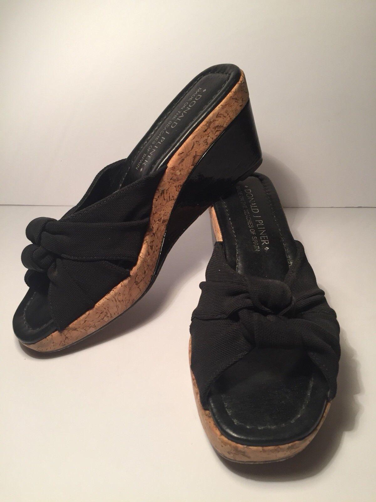 Donald J Pliner encanto para Mujer Corcho Corcho Corcho Cuña Resbalón En Sandalias Negro Tamaño 6M  295  genuina alta calidad