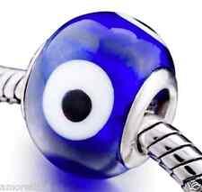 Evil Eye Indigo Blue Murano Glass Bead for Silver European Charm Bracelets Gift
