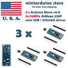 3 x Mini USB Nano V3.0 ATmega328 CH340G 5V 16M Micro-controller board Arduino