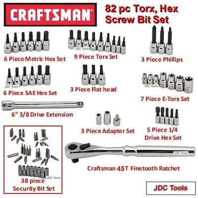 Craftsman 9 pc Large size Security Bit Set with 3//8 drive to large 6 sided hex bit adapter Tamper Proof Torx Hex Bulk pack