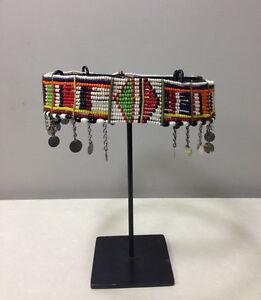Masai African Beaded Women Red Blue Yellow Bead Silver Charm Belt