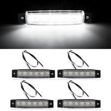 4PCS 6 LED Car Truck Trailer Side Marker Indicators Lights Lamp White 12V