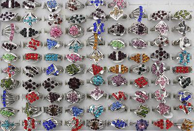 50pcs Wholesale Mixed Lots Clear Rhinestone Lady/'s Ring Fashion Jewelry AH742