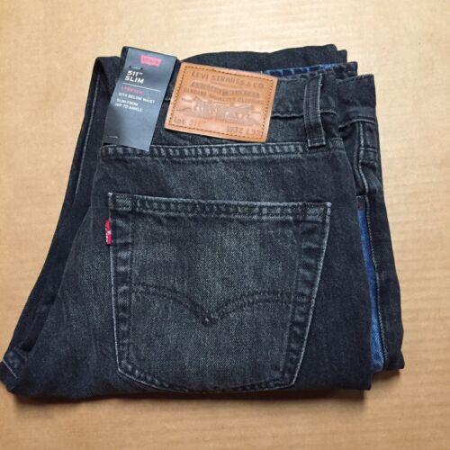 Levi/'s 511 Jeans Mens 32x32 Slim Fit Below Waist Black Stretch Jeans New AR170
