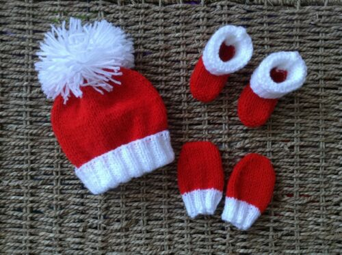 HAND KNIT NEWBORN BABY UNISEX RED AND WHITE  HAT MITTS,AND BOOTIES SET