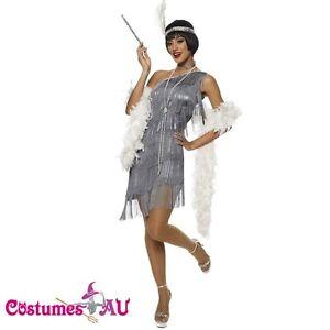 1920s Charleston Grey Flapper Fancy Dress Costume + Feather Boa Headband