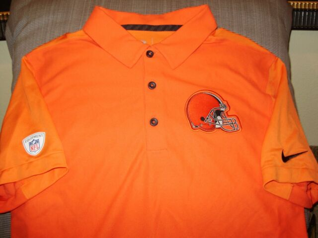 new product b54d9 83320 NFL Cleveland Browns NIKE Dri Fit Team Issue Orange Polo Golf Shirt Men s  Small