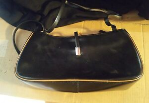 015-Vintage-Cristian-Black-Leather-Purse-Handbag-Italy-Made-Magnet-Clasp