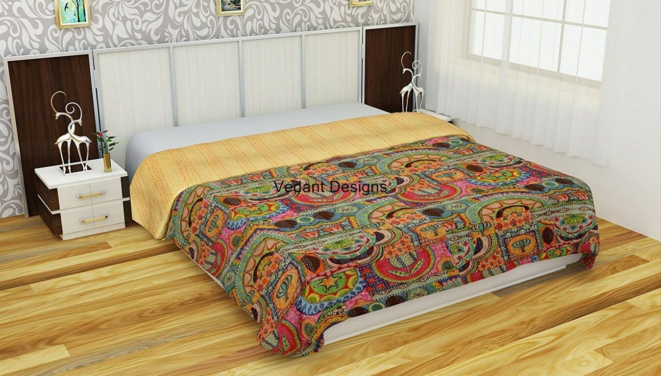 Cotton Floral Print Kantha Quilt Indian Queen Blanket Throw Bohemian Bedspread