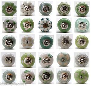 Green White Ceramic Door Knobs Handle Cabinet Cupboard Drawer Pull ...