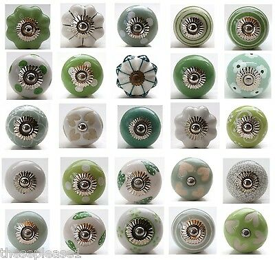 Green White Ceramic Door Knobs Handle Cabinet Cupboard Drawer Pull Polka Dot