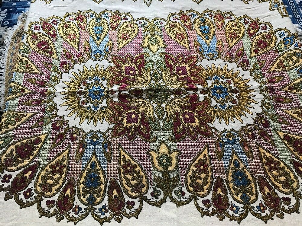 Vintage Embroidered Granada Moorish Silk Islamic Textile Fringe Wall Hanging