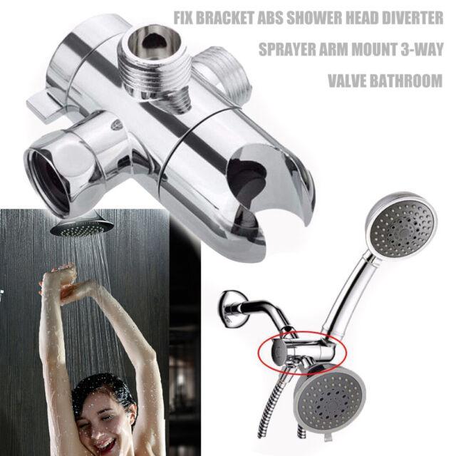 Bathroom Shower Head Diverter Sprayer Arm Mount 3 Way Valve Fix Bracket Usa