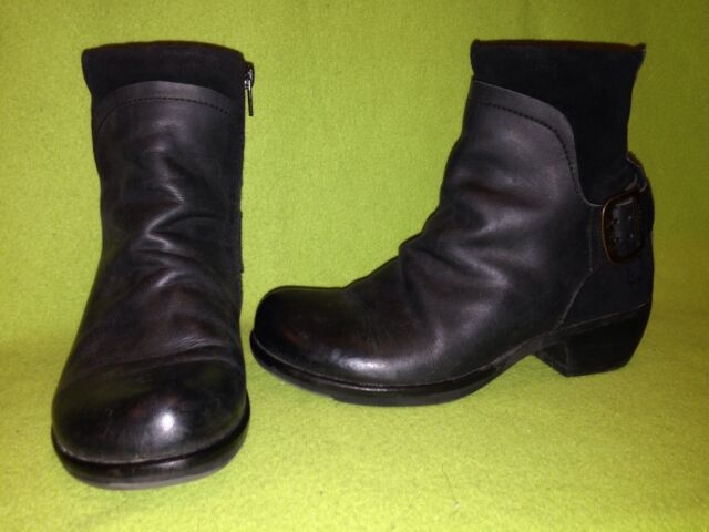 Black Leather & Suede Fly London Zip-Up Ankle Boots 6