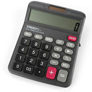 833-12-12-Digits-Truly-Desk-Top-Calculator-Dual-Power-Power-Switch-Office-Home