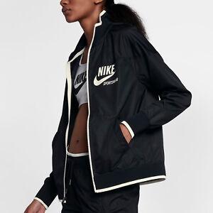 Nike Sportswear Archive Women s Woven Jacket XS Black White Casual ... 1d48d3f46