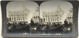 Place San Pierre Roma Vaticano Italia Foto Stereo Stereoview Vintage