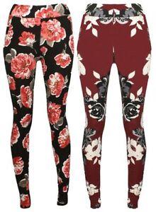 Damen Blumen Thermo taschen Hosen Strickwaren Hosen Leggings 8-22