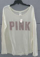 068cfc4fc5172 Pink Victoria's Secret Long Sleeve Tee Shirt Top Scoop Neck Ivory ...