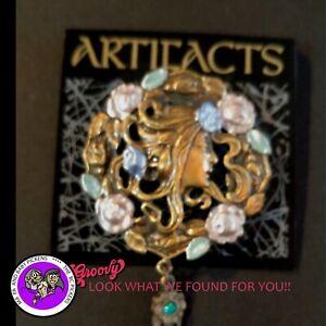 034-JJ-034-Jonette-Jewelry-Bronze-Pewter-039-Fairy-Flowers-Blue-Stone-dangle-039-Pin