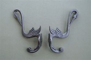 Metalware PAIR OF BEAUTIFUL ARTS AND CRAFTS STORK HOOK CAST IRON COAT BIRD COATHOOK RACK Antiques